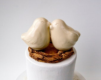 Ivory Snuggling Love Bird Cake Topper