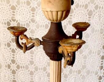 Vintage Art Deco Metal 3 Arm Candelabra Torchiere Victorian Era Floor Lamp