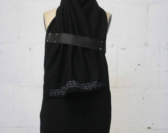 010 black wool & leather text print scarf