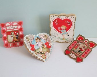 Lot of Four 1930s Die-Cut Valentine's Day Cards, Two-Sided, Snow Heart, Flower Basket, Red Hearts