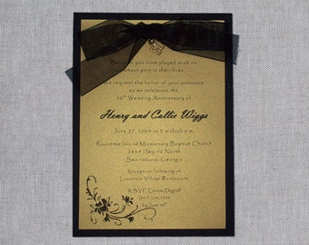 50th Wedding Anniversary Invitations - Gold and Black Anniversary Invitations - 50th Anniversary Invitations - Handmade Invitations