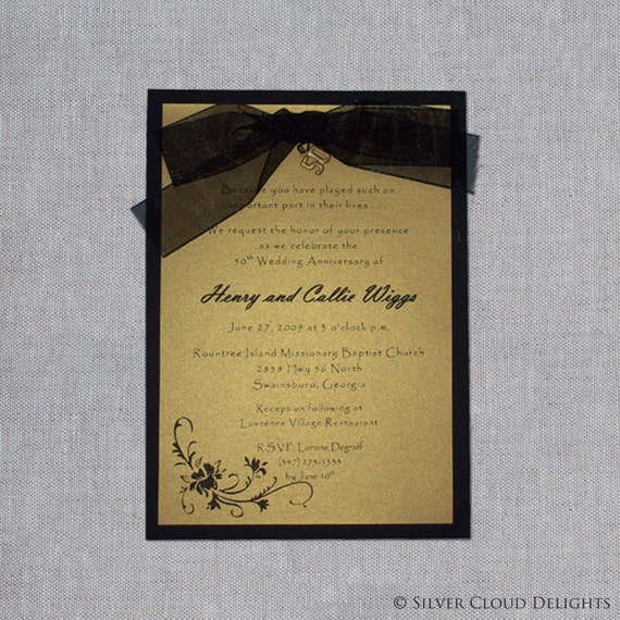 50th wedding anniversary invitations gold and black anniversary