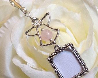 Wedding bouquet photo charm. Rose quartz angel photo charm. Bridal bouquet photo charm. Gift for the bride.  Sister gift.