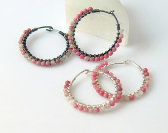 Pink Rhodochrosite Stone Beaded Hoops, Petite Wire Wrapped Bead Hoops in Rose Pink and White, Oxidized or Bright Sterling, Gift for Her