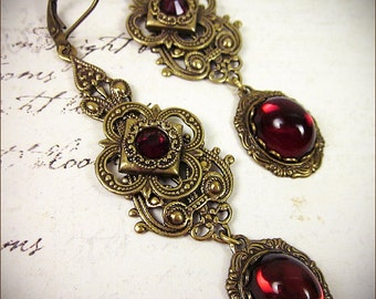 Garnet Renaissance Earrings, Red, Medieval Jewelry, Tudor Costume, Bridal, Bridesmaid, Ren Faire, Wedding, Handfasting, Your Choice of Color