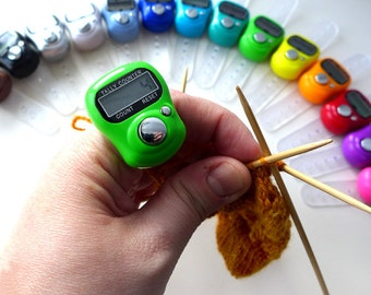 Digital Row Counter - Finger Tally Count with LCD Screen - Hands Free Counting for Knitters and Crocheters - Finger Buddy