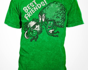 Vegetable Best Friends- Mens Tshirt - Heather Green - High Five