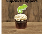 Zoo Animals Party - Set of 12 Iguana Cupcake Toppers by The Birthday House