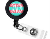 Monogram Badge Reel, Monogram ID Badge, Monogram Retractable Badge Reel, Personalized Badge Reel (522)