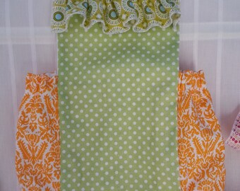 Bubble Romper Ruffle Sunsuit in green, blue and orange damask and dots