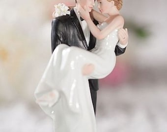 Groom Holding Bride Traditional Cake Topper Figurine - Custom Painted Hair Color Available - 707529