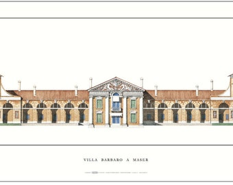 Big Palladio poster Villa Barbaro at Maser Signed by author..size 35 x 17.5 in