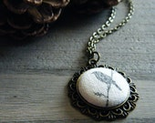 RESERVED FOR RUTH. One for Sorrow. Handmade Antiqued Brass Button Pendant Necklace.
