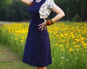 40's Pinafore Skirt in Cobalt Blue