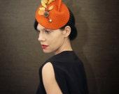 Orange Felt Fascinator with Golden Velvet Leaves and Birdcage Veil - Fall Fashion - Made to Order