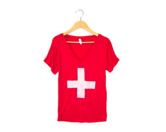 Swiss Cross - Oversized V-Neck Drop Sleeve Boxy T-shirt in Red and White - Women's Size S-2XL