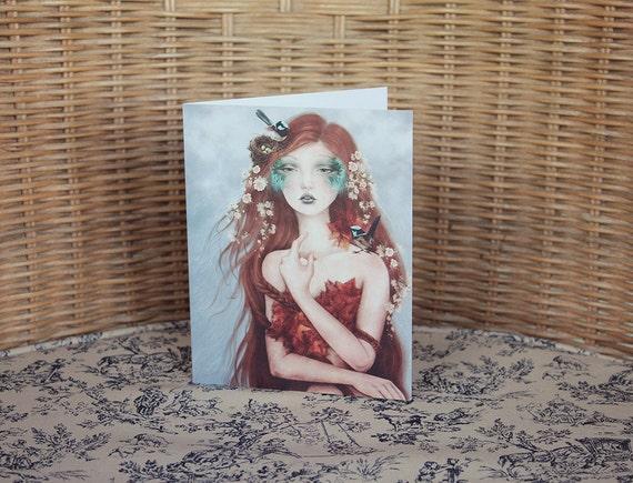 Blue Wren Fairy Red Haired Faerie Dryad Goddess Greeting Card // Print of Original Fantasy Illustration 'Wrencatcher'