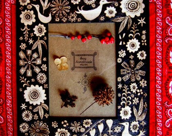 custom flower-bird  frame-with ooak woodburned designs-ready to hang anniversary wedding gift