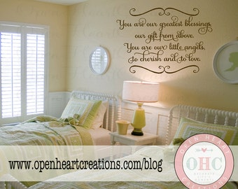 Twin Baby Nursery Wall Decal Saying - You Are Our Greatest Blessings Our Gift From Above -  Wall Quote Lettering Girl Boy 22H x 32W BA0413