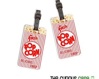 Personalized Luggage Tags Movie Theater Popcorn  Personalized Address Custom Luggage Tags Full Metal tags - 2 Tags