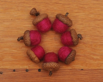 Pink Felted  Acorns, Set of Fuchsia ecofriendly wool, also available as ornaments