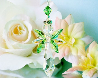 Swarovski Crystal Suncatcher Guardian Angel Window Sun Catcher Green Hanging Crystals Prism