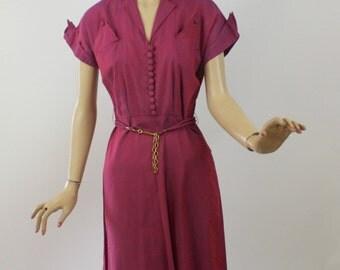 Vintage 50s Day Dress Tommie Austin Red & Blue Cotton Shirtwaist Dress Bust 36