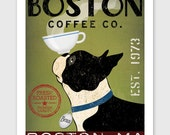 BOSTON TERRIER Coffee Co. ILLUSTRATION Print signed