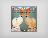 LABRADOODLE Coffee or Beer Brewing Personalized FREE GOLDENDOODLE Double Doodle Brewing Company  canvas Signed