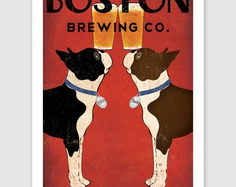 BOSTON Terrier FREE to Personalize -- Brown & Black  Brewing Co. Beer  ILLUSTRATION Print signed