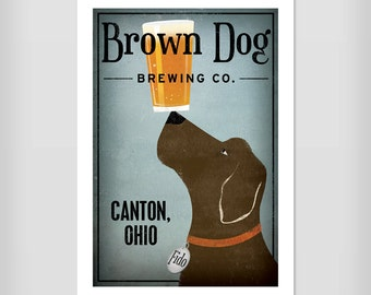 Custom Labrador BEER Brewing Company Black Yellow Brown Red Grey Silver Dog  Print Signed