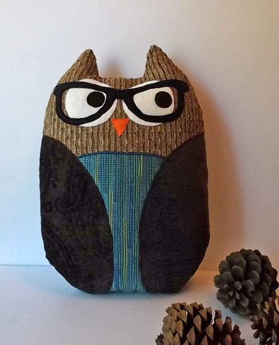 Owl Throw Pillow Etsy : OWL with Glasses Throw Pillow Handmade by ProjectOrange on Etsy