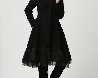 Coat with hood, black wool coat, dress coat, winter coat, mod coat, womens coats, designer clothing, Custom made (1115)