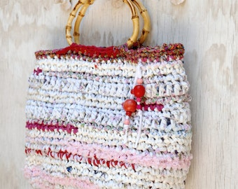 White Red Bag with bamboo handles --- Upcycled Recycled Crocheted Bag with wooden buttons --- Tagt Rdtt