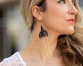 The black lace cathedral earrings Multi Chain Earrings in Black and Gold