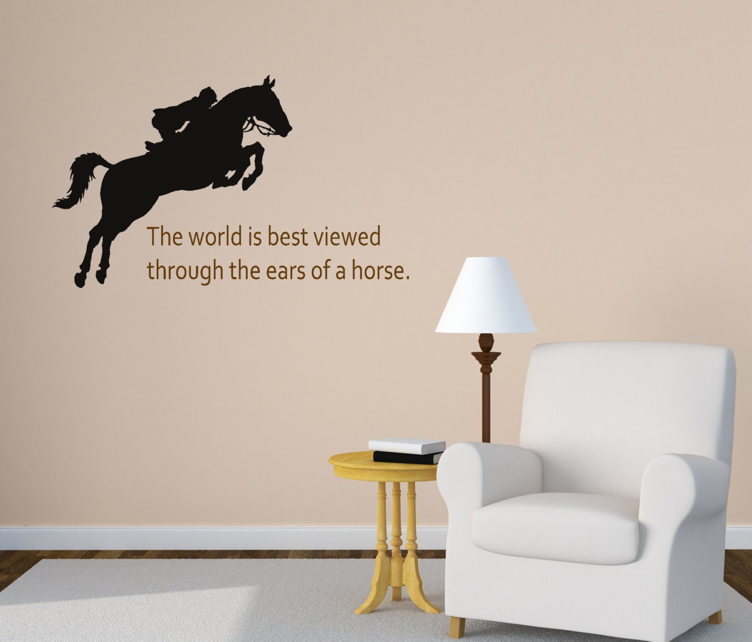 Horse wall decal girls bedroom wall decal quote wall decal for Cowboy wall mural