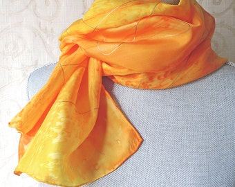 Hand Painted Silk Scarf in Sunny Yellows with Gold