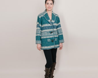 Vintage Wool Blanket Coat - Warm Tribal Toggle Coat by Eddie Bauer  - Teal / Green / Blue - Oversized M