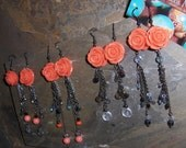 Rose Earrings, Orange Ear...
