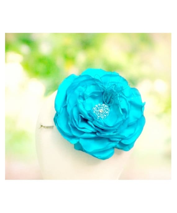 Turquoise Blue / Ivory / White Fascinator Comb / Clip Flower Handmade Extra Large Oversized Fleur Flor, Chic Couture Bridal Bride Bridesmaid