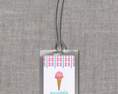 Ice Cream Cone Personalized Bag Tags - Custom Backpack Tags, Diaper Bag Tags, Luggage Tags