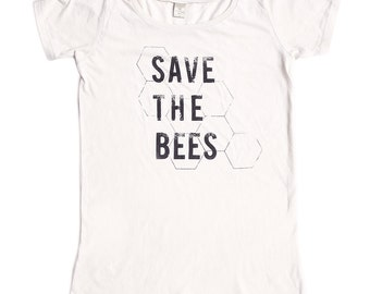 Organic Clothing - Save the Bees Shirt - Womens - Bamboo - Organic Cotton - xs S M L XL 2x - Clothing -Tshirt
