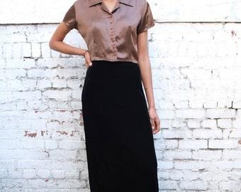SALE / Vintage Velvet Stretch 1990's Column Black High Waisted Maxi Skirt S/M
