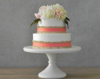 "14"" Cake Stand Wedding Pedestal Cupcake White Cake Stand Wooden Wedding Cake Topper E. Isabella Designs Featured In Martha Stewart Weddings"