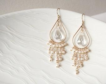 Crystal Wedding Earrings, Bridal Earrings, Pearl Earrings, Crystal Earrings, Gold Earrings