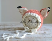 Fox Hat Baby Bonnet Knitted Photo Prop, Newborn, 0-3 Months, Chunky Hand Knit, Infant Gift, Orange, Cream, Black