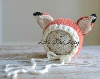 Fox Hat Baby Bonnet Knitted Photo Prop, Newborn, 0-3 Months, Chunky Hand Knit, Infant Gift, Orange, Cream, Black