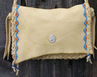 Leather crossbody bag , Beaded leather bag , Beaded Purse