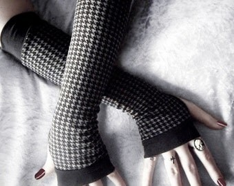 Shadow Boxer Arm Warmers - Dark Charcoal Grey & Black Tiny Houndstooth Soft Cotton - Gothic Belly Dance Fusion Chic Yoga Cycling Emo Urban