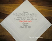 Stepfather of the Bride Wedding Gift Embroidered Wedding Hankerchief by Canyon Embroidery